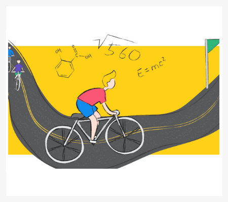 Abstract illustration of a young man cycling towards the finish line