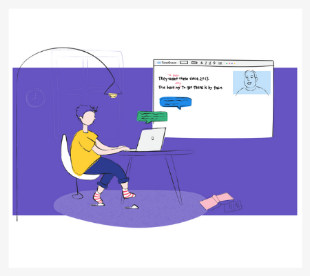 Abstract illustration of a teenager using the TutorOcean online classroom to connect with a tutor