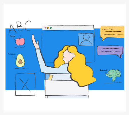 Abstract illustration of a girl doing online tutoring