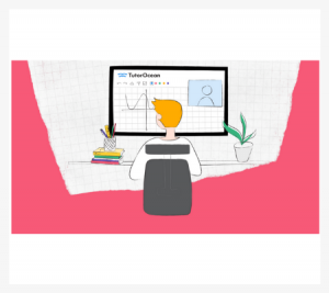Abstract illustration of a boy doing online tutoring for Math