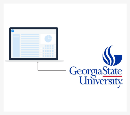 Abstract illustration of a laptop and the Georgia State University logo
