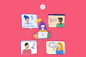 Abstract illustrations of a girl learning different subjects from various online tutors
