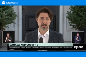 Screenshot of Canada PM Trudeau making an announcement about CCB
