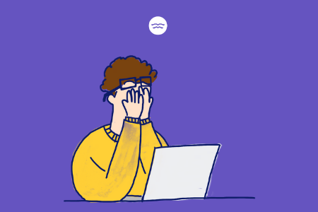 Abstract illustration of a boy stressed about school sitting in front of his laptop