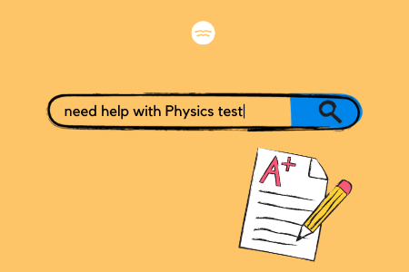 Abstract illustration of a search bar and test paper that is graded A+