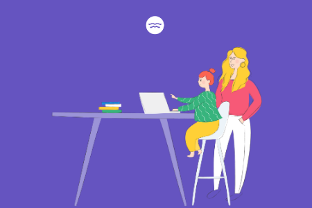 Abstract illustration of a mom helping her daughter as she does online tutoring