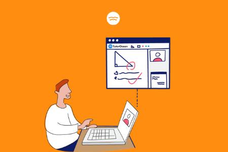 Abstract illustrations of a guy doing online tutoring on tutorocean.com