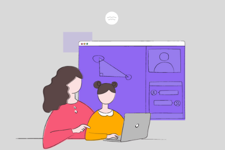 Abstract illustrations of a mom helping her daughter with online tutoring