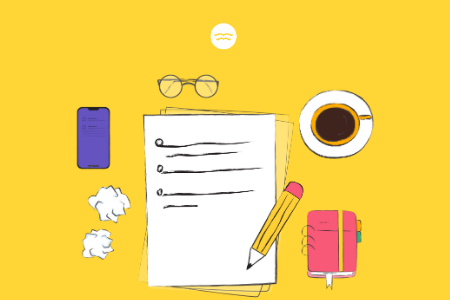 Abstract illustrations of things on a work desk such as pieces of paper, coffee, glasses and phone