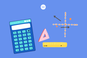 Abstract illustrations of a calculator, rulers and a dotted graph
