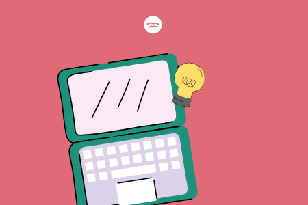 Abstract illustrations of a laptop and lightbulb