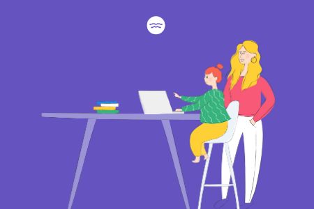 Abstract illustrations of a mom supervising her daughter's online tutoring session