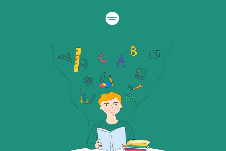 Abstract illustrations of a boy reading and symbols of school subjects