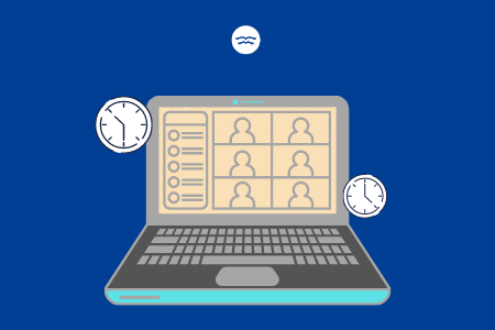 Abstract illustrations of a laptop displaying 1-many online learning and two clocks