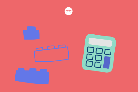 Abstract illustrations of blocks and a calculator
