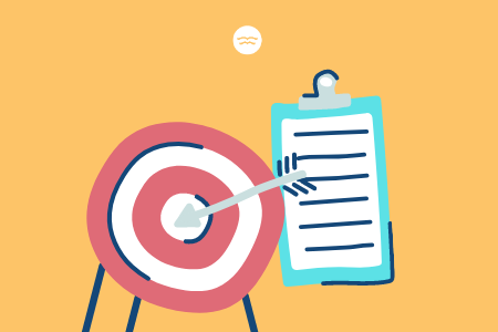 Abstract illustrations of a target and a checklist