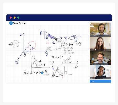 Image of the TutorOcean online classroom with video conferencing and whiteboard