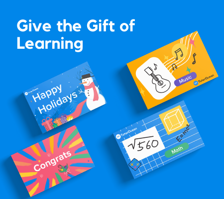 Abstract illustrations of four TutorOcean learning eGift cards