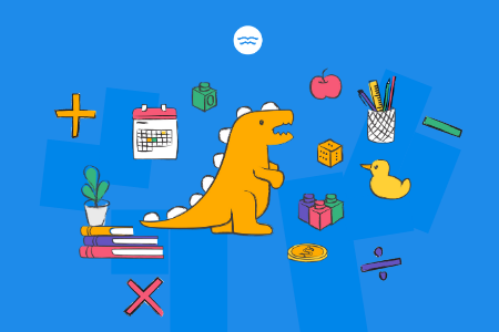 Abstract illustrations of math symbols, a dinosaur toy and other learning tools