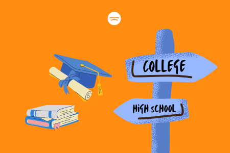 Abstract illustrations of a graduation hat, diploma, books and crossroad signs