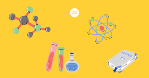 Abstract illustrations of science related symbols