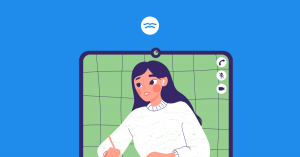 Abstract illustration of a girl learning online